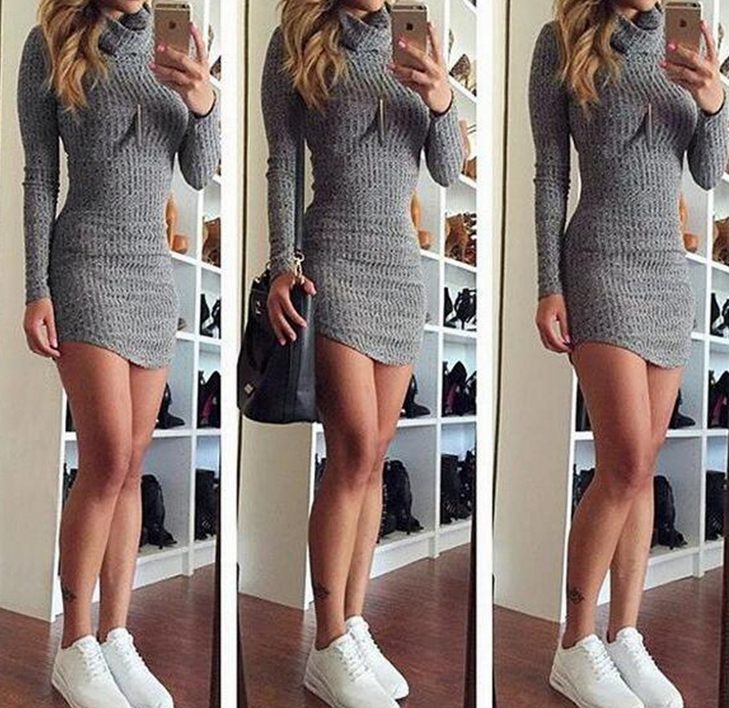 FASHION LONG SLEEVE HIGH COLLAR SWEATER DRESS