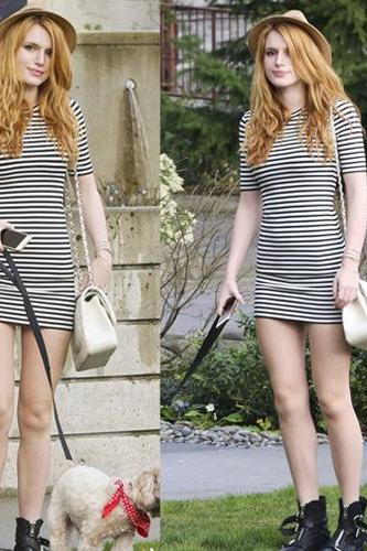 HOT STRIPE SHORT SLEEVE DRESS