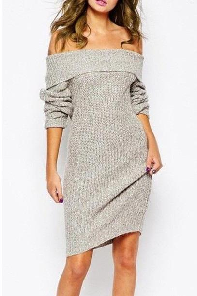 Off-The-Shoulder Long Sleeves Knee Length Sweater Dress