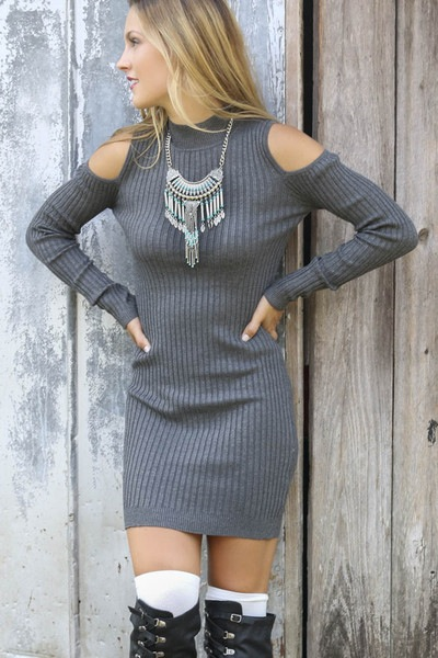 Knitted Cold Shoulder Mock Neck Long Sleeves Short Dress