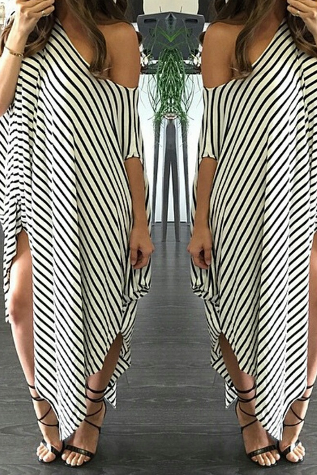 HOT OFF SHOULDER STRIPE LONG DRESS