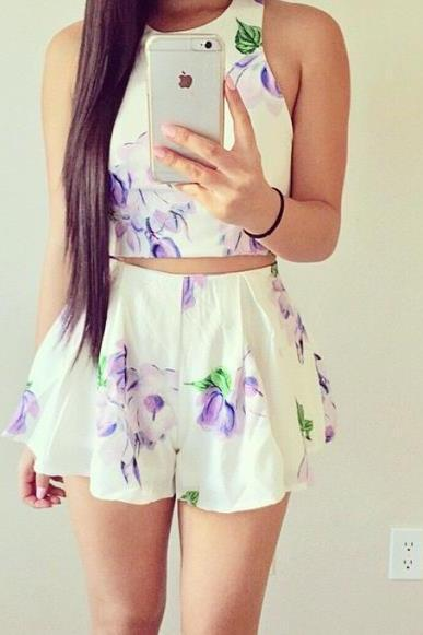 CUTE FLORAL TWO PIECE SUIT