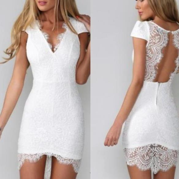 CUTE LACE DEEP V DRESS