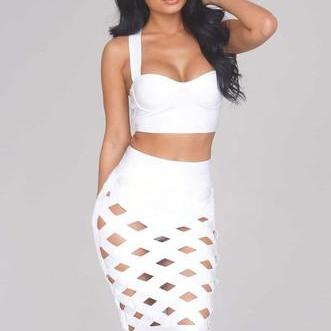 HOT CUTE TWO PIECE HOLLOW OUT DRESS