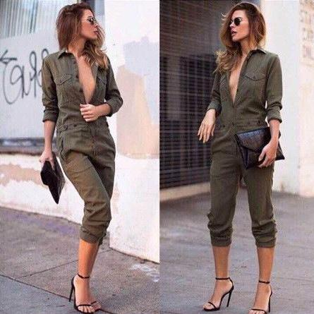 CLASSY GREEN THE NEW FEMALE LEISURE TROUSERS FASHION LONG-SLEEVED WOMEN JUMPSUITS LAPELS JUMPSUIT