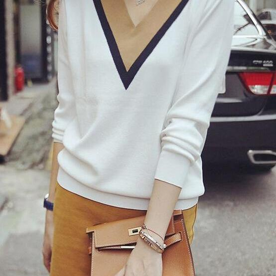 HOT DEEP V CUTE CONTRAST SWEATER HIGH QUALITY