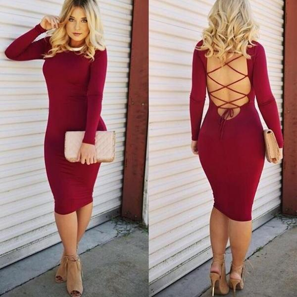 CUTE LONG SLEEVE CROSS SEXY SHOW BODY DRESS