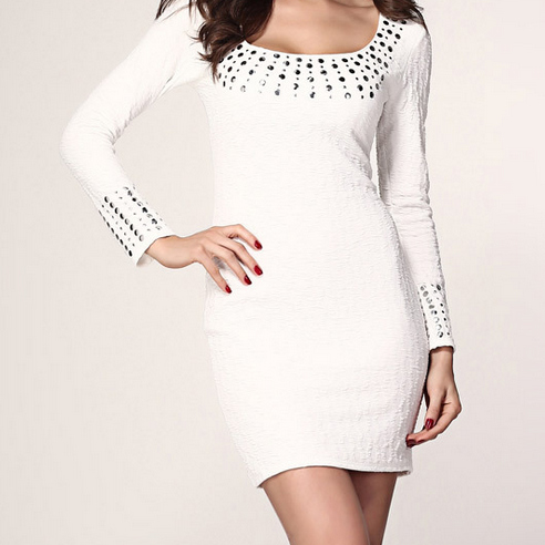 FASHION RIVET SHINING LONG SLEEVE HOT DRESS